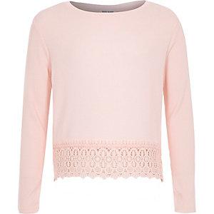 Girls pink texture crochet hem t-shirt