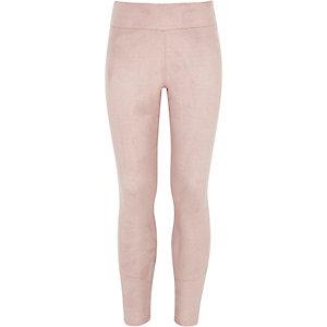 Girls pink faux-suede leggings