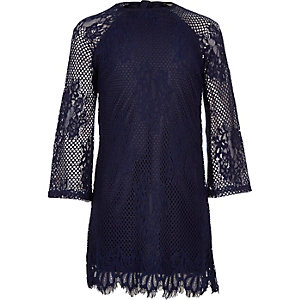 Girls navy blue lace shift dress