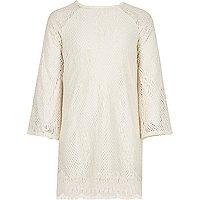 Girls cream lace shift dress