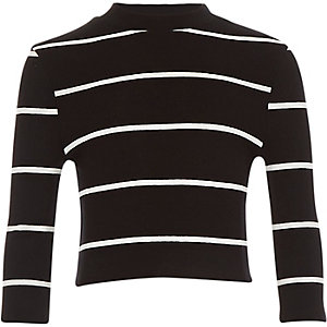 Girls black stripe turtle neck top