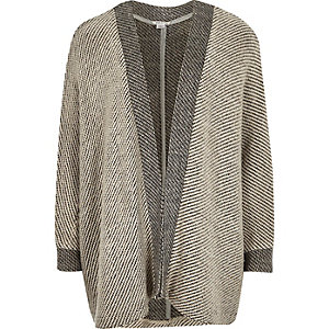 Girls grey cocoon colour block cardigan