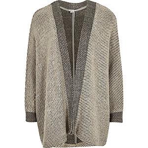 Girls grey cocoon colour block cardigan