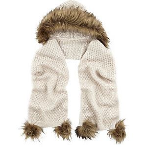 Girls cream knitted hooded scarf