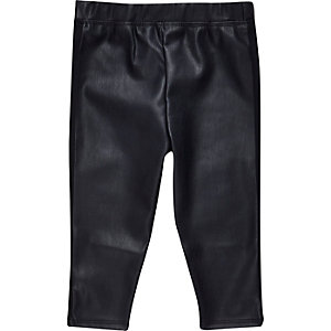 Mini girls navy leather-look leggings