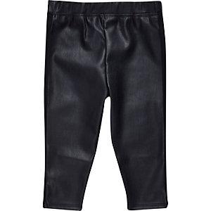 Mini girls navy leather-look leggings
