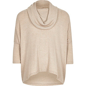 Girls cream cowl neck slouchy top