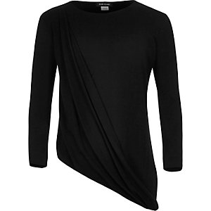 Girls black drape front top