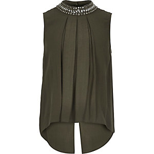 Girls khaki embellished neck shirt
