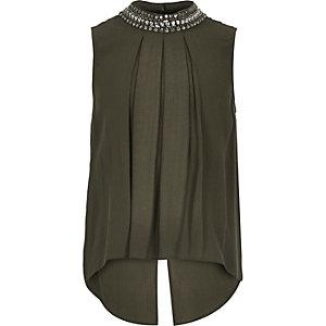 Girls khaki embellished neck shirt