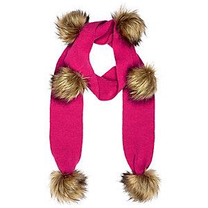 Girls pink pom pom scarf