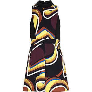 Girls black retro print dress