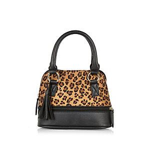 Girls black leopard print handbag
