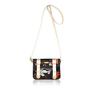 Girls black floral print mini satchel bag