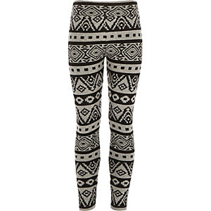 Girls jacquard geo print leggings