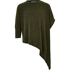 Girls khaki asymmetric hem jumper