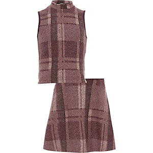 Girls purple check top skirt set