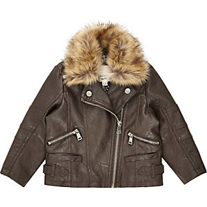 Mini girls brown leather-look biker jacket