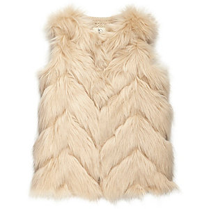 Mini girls cream faux fur knitted back vest