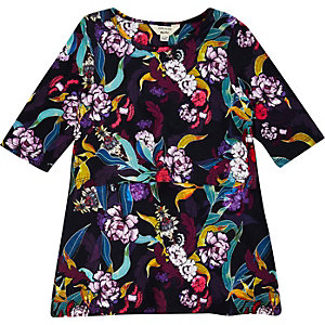 Mini girls floral print layer dress
