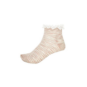 Girls beige space dye frilly socks