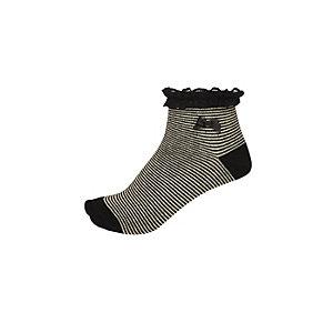 Girls black metallic stripe socks