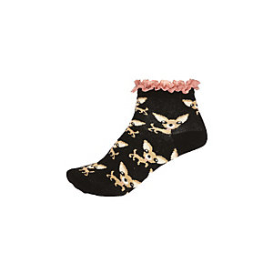 Black puppy print frilly socks