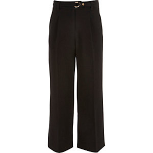 Girls black belted wide leg pants
