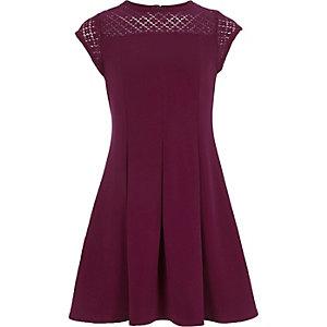 Girls dark red lace neck skater dress