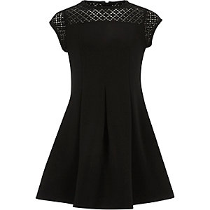 Girls black lace neck skater dress