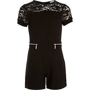 Girls black ribbed lace playsuit