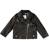 Mini girls black leather look biker jacket