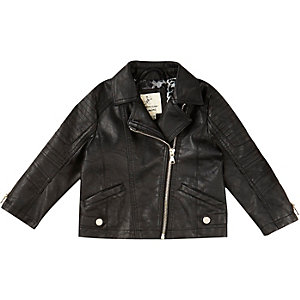Mini girls black leather look biker jacket