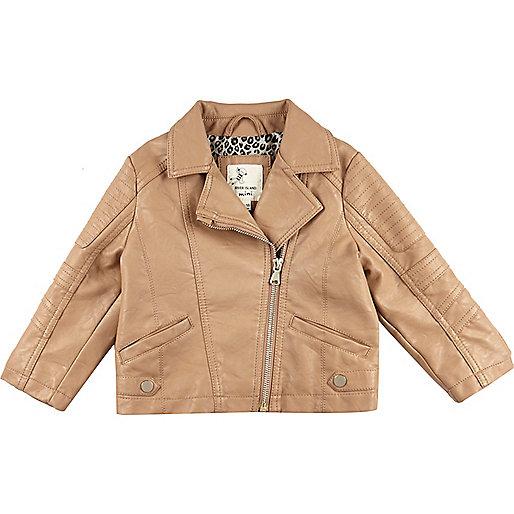 Mini girls brown leather look biker jacket