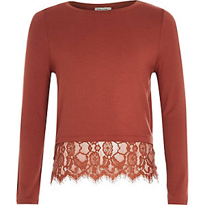 Girls rust brown lace hem t-shirt