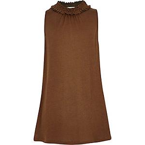 Girls rust brown ruffle neck top