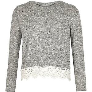 Girls grey lace hem top