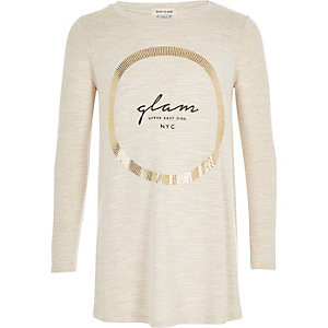 Girls cream metallic print swing top