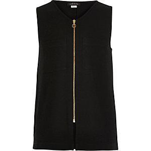 Girls black zip-up sleeveless top