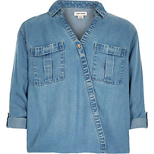 Girls blue denim wrap front shirt