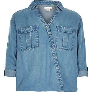Girls blue denim wrap front shirt