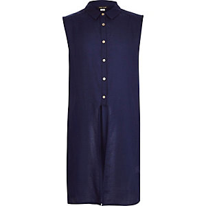 Girls navy split front sleeveless shirt
