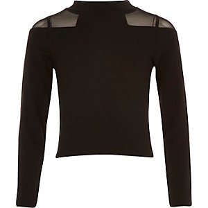 Girls black mesh shoulder top