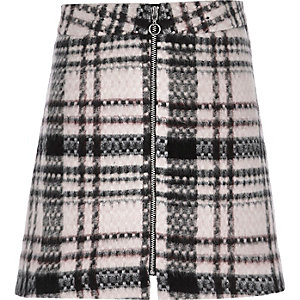 Girls pink check zip front skirt