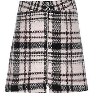 Girls pink check zip front skirt
