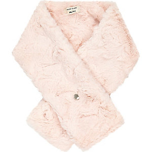Mini girls pink faux fur scarf