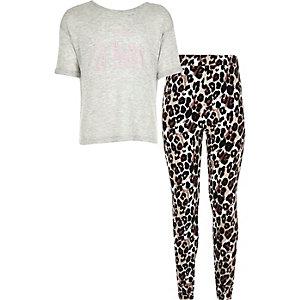 Girls grey t-shirt leopard bottoms pajama set