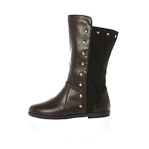 Mini girls brown studded knee high boots