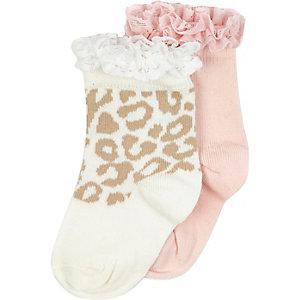 Mini girls animal print socks multipack