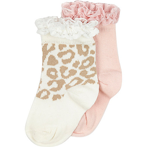 Mini girls animal print socks multipack